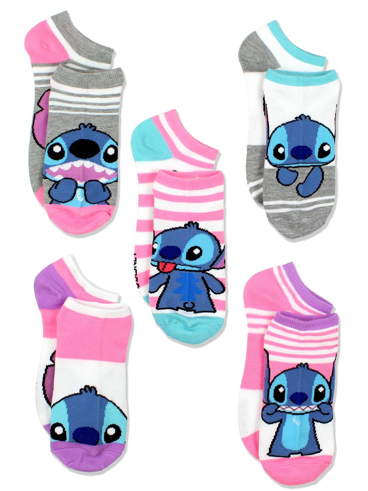 Lilo & Stitch Womens Multi Pack Socks (9-11 Womens (Shoe: 4-10), Pink/Multi)