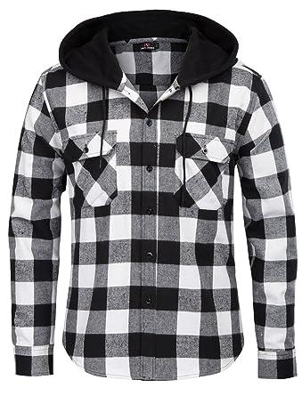 Men's Cotton Grid Pattern Hoodies Button Down Dress Shirts Tops Size S  Black/White