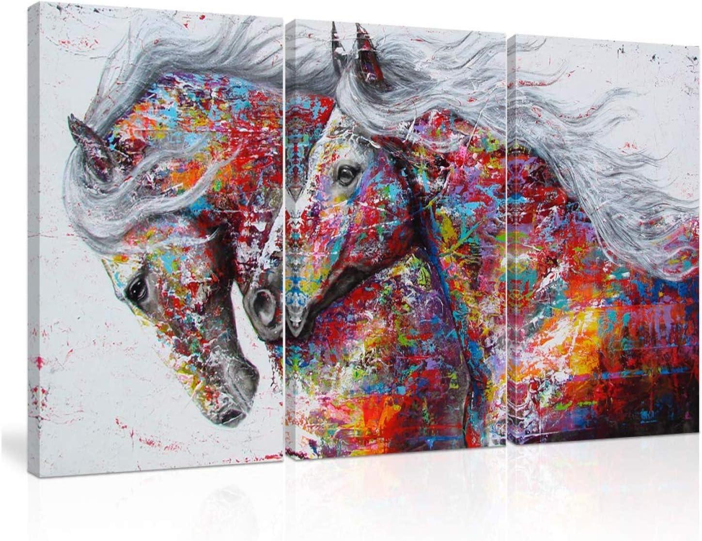 CHENSH Graffiti Colorido Caballo Lienzo Abstracto 3 Paneles Arte de Pared Caballo Pinturas al óleo Animales Impresiones Cartel con Colores Vivos para la decoración del hogar Vivo