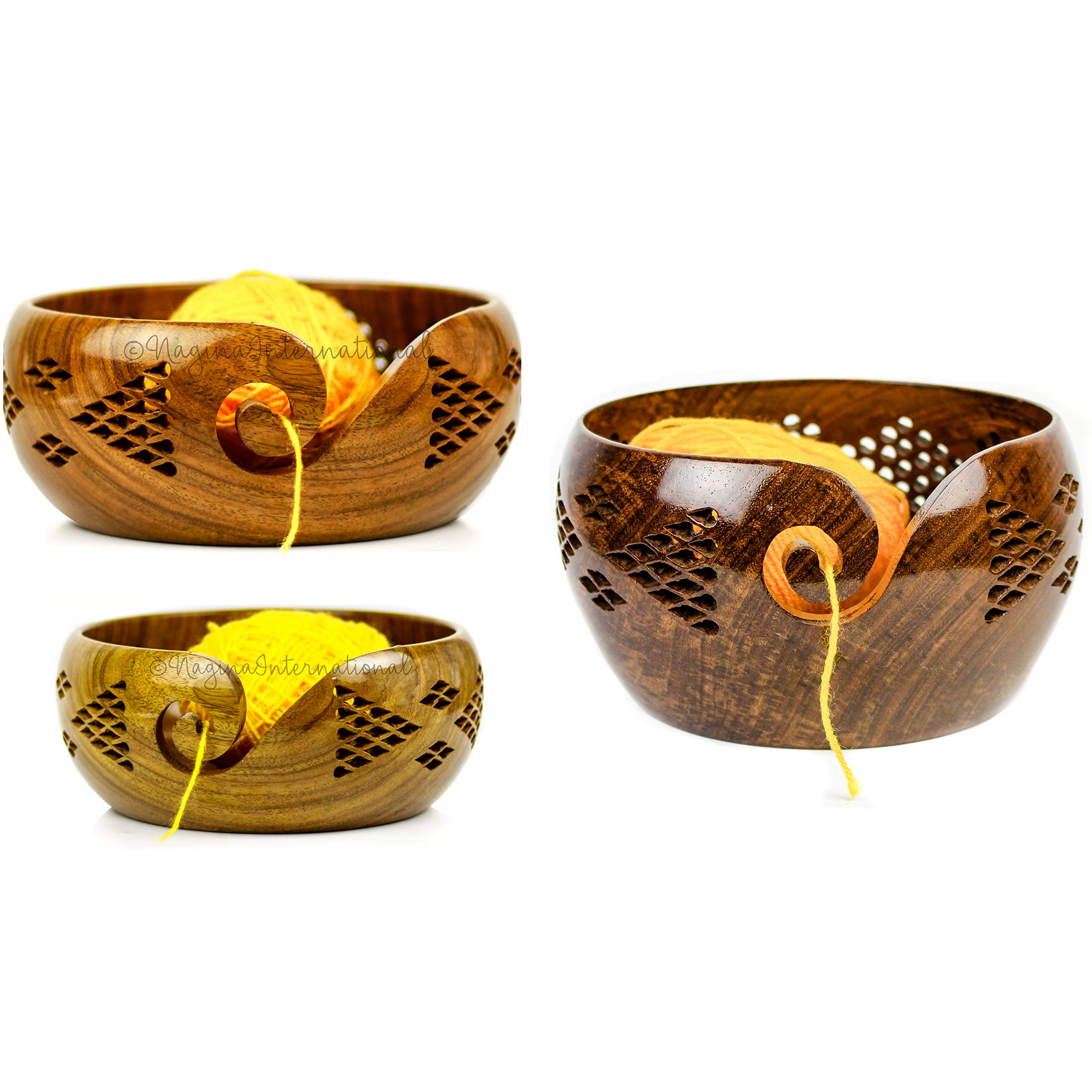 Nagina International Premium Rosewood Crafted Yarn Storage Bowls with Decorative Carved Handmade Grills - Knitting & Crochet Accessories Supplies (Set)