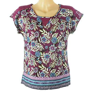 01bbb7119494e7 ex Per Una Blouse Top Dark Pink Floral Leaf Print Tee Ladies T-Shirt Size  14: Amazon.co.uk: Clothing