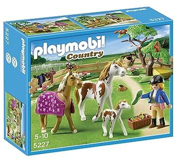 playmobil 5227 jeu de construction chevaux et enclos