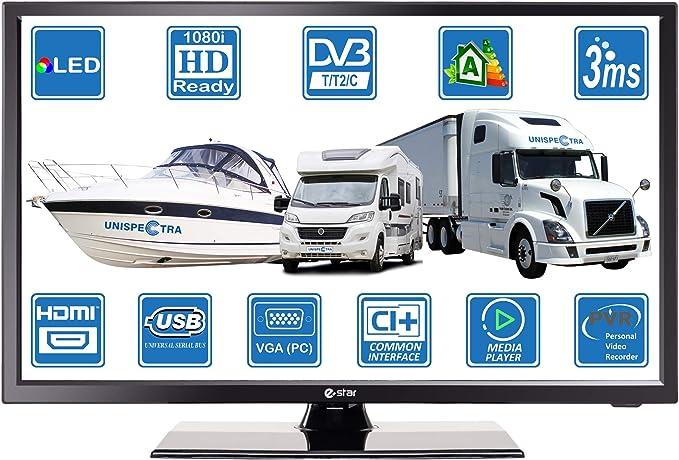 Televisor digital digital DVB-T2/C/S2 TNT HD, 12 V, 220 V, USB, PVR y reproductor multimedia VGA y HDMI: Amazon.es: Electrónica