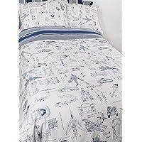 Twin Bed Children's Duvet Cover 3 Piece Bedding Set -Cotton BOY'S BLUE AIRPLANE Modern Teen Decor - Zipper Quilt - Kid…