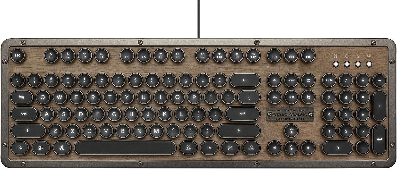 Azio Retro Classic USB (Elwood) - Luxury Vintage Backlit Mechanical Keyboard, brown/gray (MK-RETRO-W-01-US)