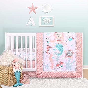 Everyday Kids 3 Piece Girls Crib Bedding Set Mermaid Adventures