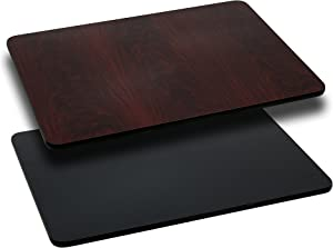 Flash Furniture 24'' x 30'' Rectangular Table Top with Black or Mahogany Reversible Laminate Top
