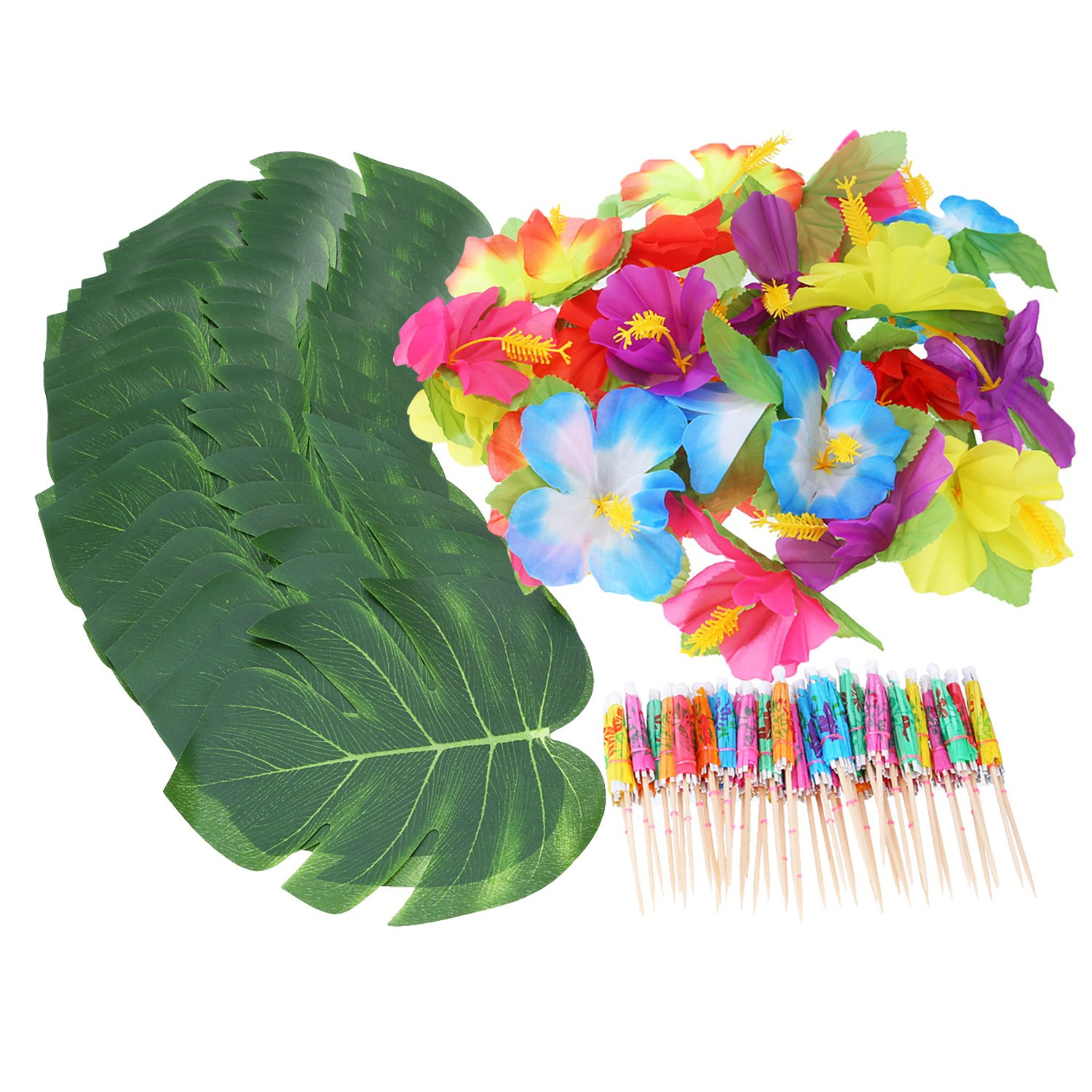 Shappy 98 Pieces Hawaiian Luau Theme Party Decorations, Including 24 Pieces Tropical Palm Leaves, 24 Pieces Luau Flowers and 50 Pieces Multi-color Umbrellas by Shappy