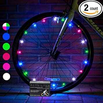 Review Activ Life 2 Tire Pack LED Bike Wheel Lights with BATTERIES INCLUDED! Get 100% Brighter and Visible From All Angles for Ultimate Safety & Style