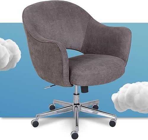 Serta Valetta Upholstered Home Office Desk Modern Swivel Accent Chair