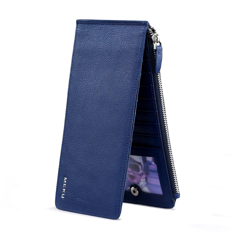MEKU Women's Slim Genuine Leather Bifold Wallet Zipper Purse Credit Card Organizer Phone Holder Blue Xmas Gifts