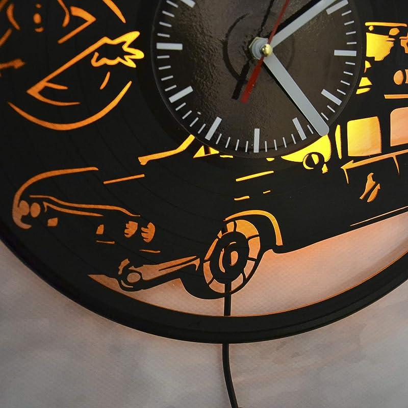 Details about  /LED Clock Hazard mask skull Vinyl Record Wall Clock Led Light Clock 1142