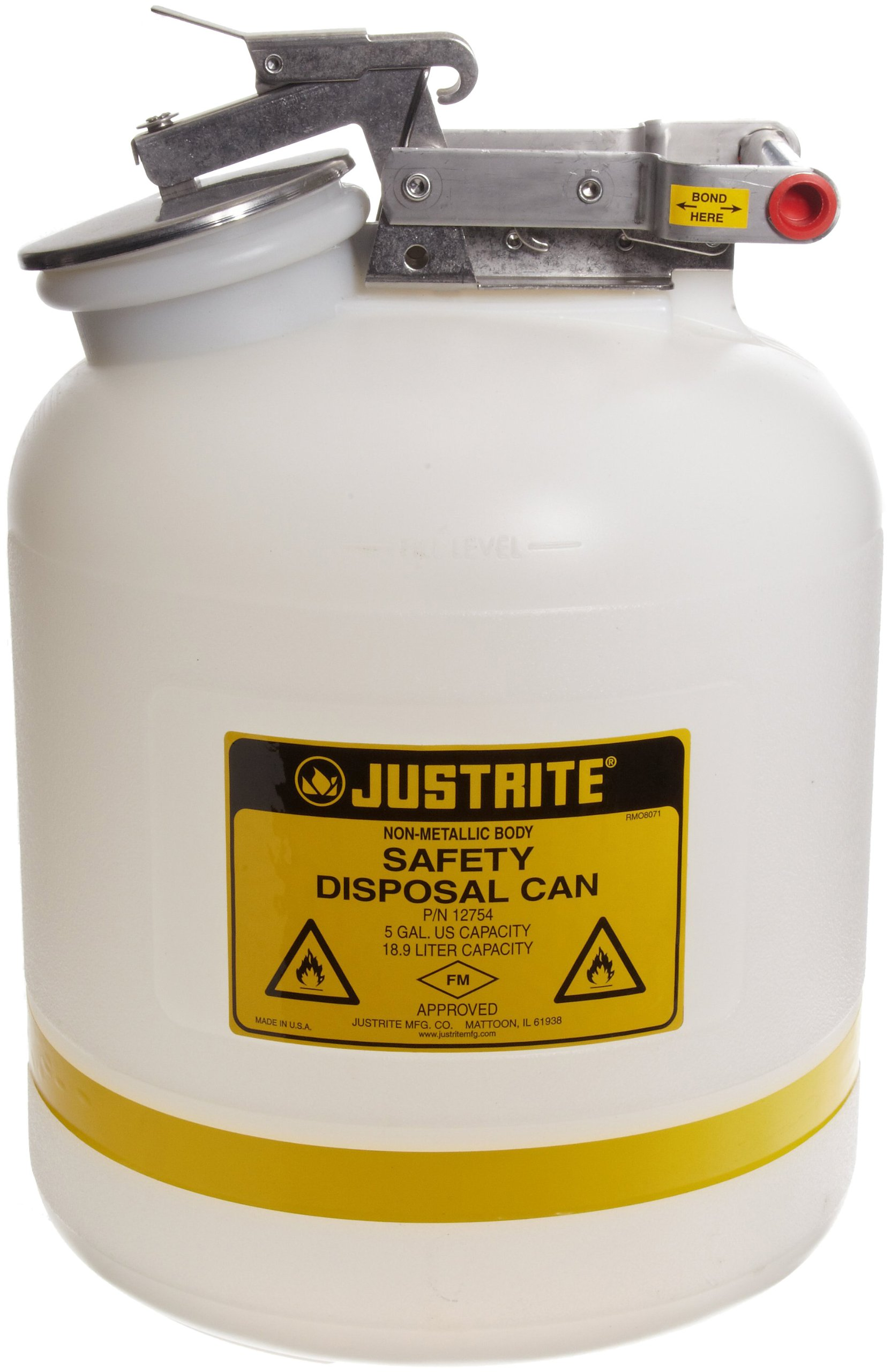 Justrite 12754 5 Gallon Capacity, 12.00'' O.D x 20'' H Size Laboratory Cans For Corrosives