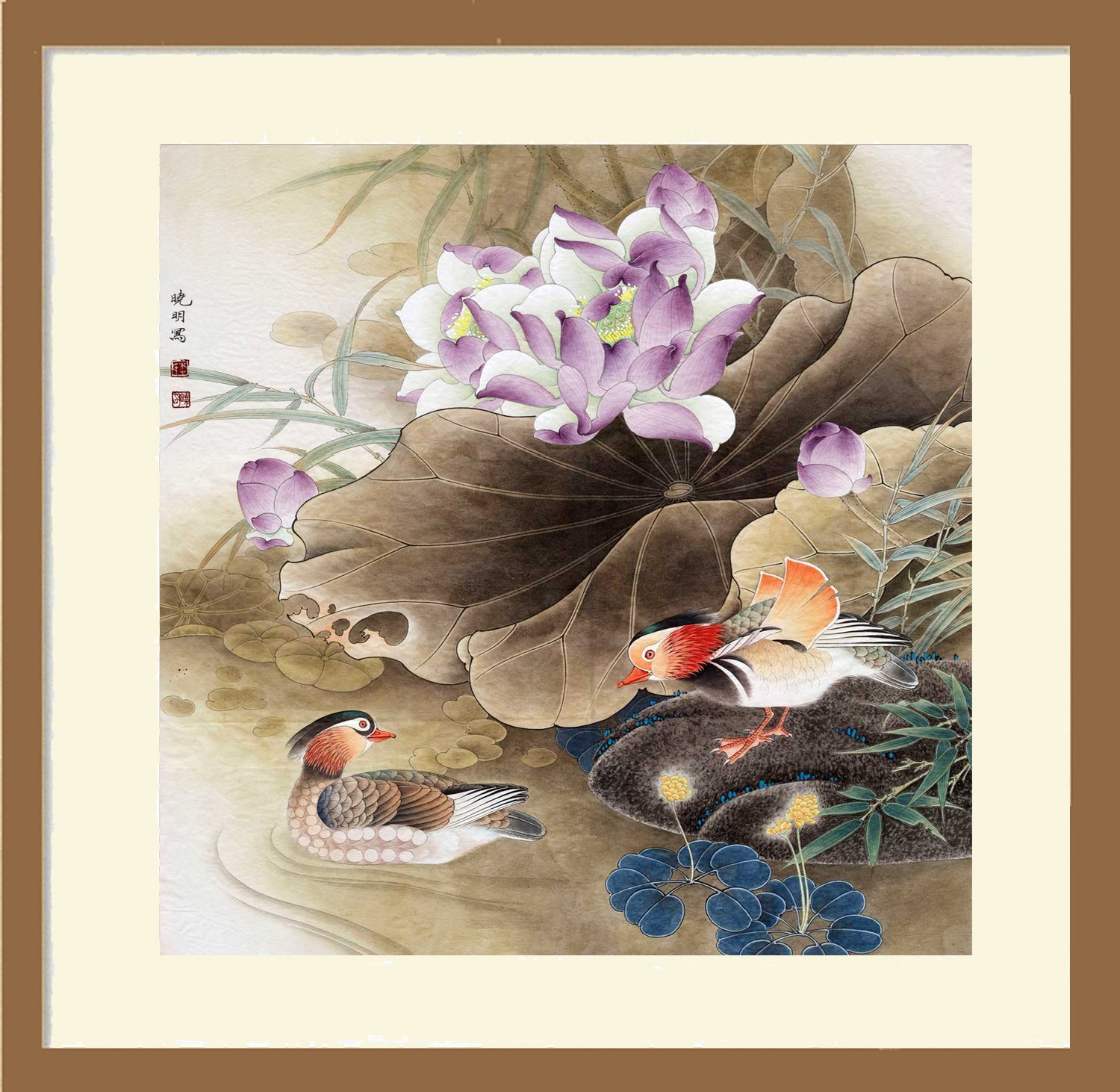 INK WASH Framed Chinese Lotus Landscape Feng Shui Mandarin Ducks Painting for Love and to Activate Relationship for Bedroom Wall Decoration 28''x28''