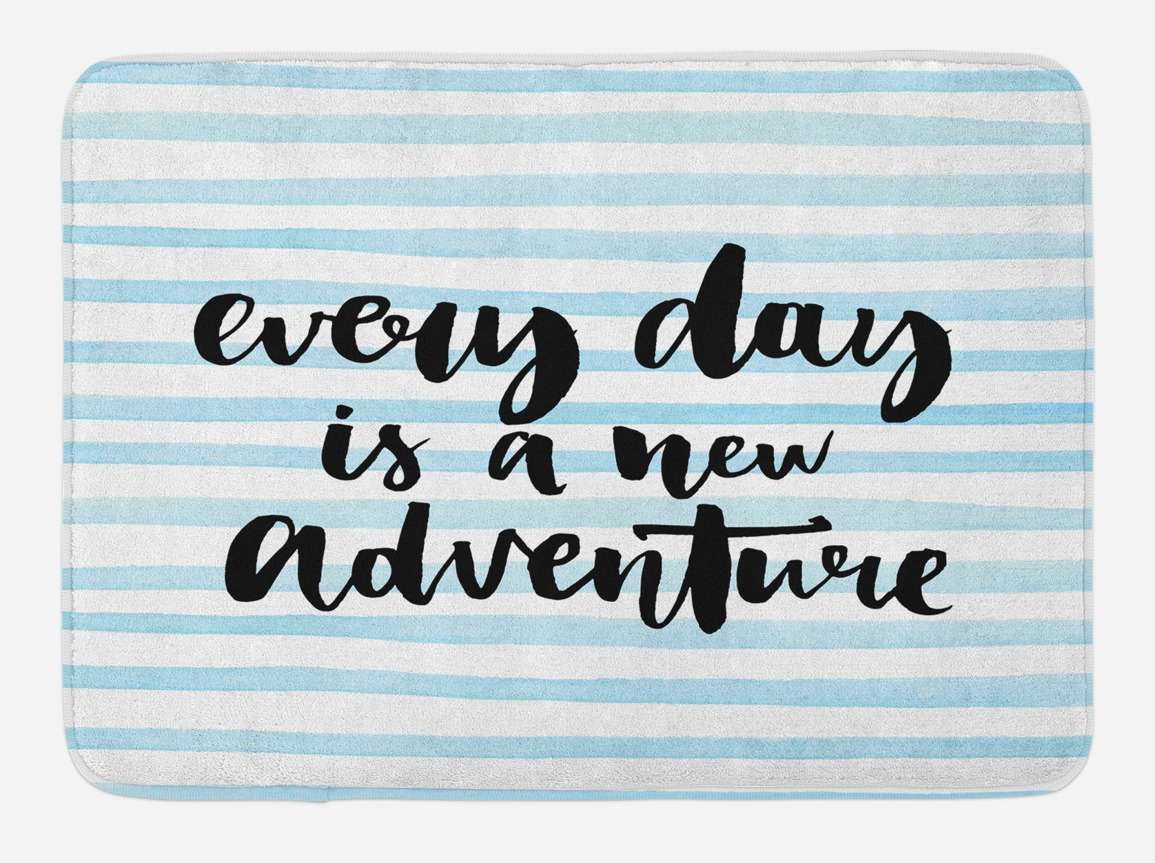 Ambesonne Adventure Bath Mat, Every Day is a New Adventure Quote Inspirational Things About Life Artwork, Plush Bathroom Decor Mat with Non Slip Backing, 29.5 W X 17.5 W Inches, Baby Blue Black