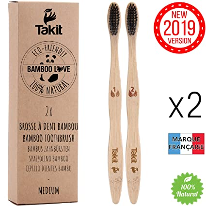 TAKIT Cepillo Dientes Bambu - x2 - Cerdas Medianas Con Carbón Infundido - Bio - Ecológico Y 100% Biodegradable