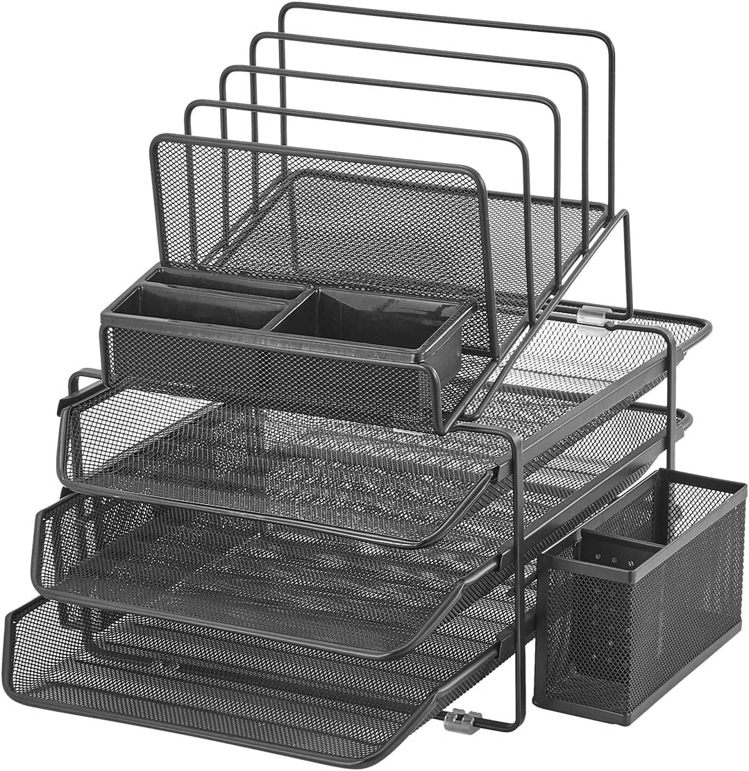 DESIGNA Stackable Mesh Desk Organizer with 488 Sliding Letter Tray Drawers, 48  File Holders Sorter Section, 48 Side Compartments, Pencil Holder Non-slip