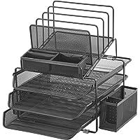 DESIGNA Stackable Mesh Desk Organizer with 3 Sliding Letter Tray Drawers, 4 File Holders Sorter Section, 2 Side…
