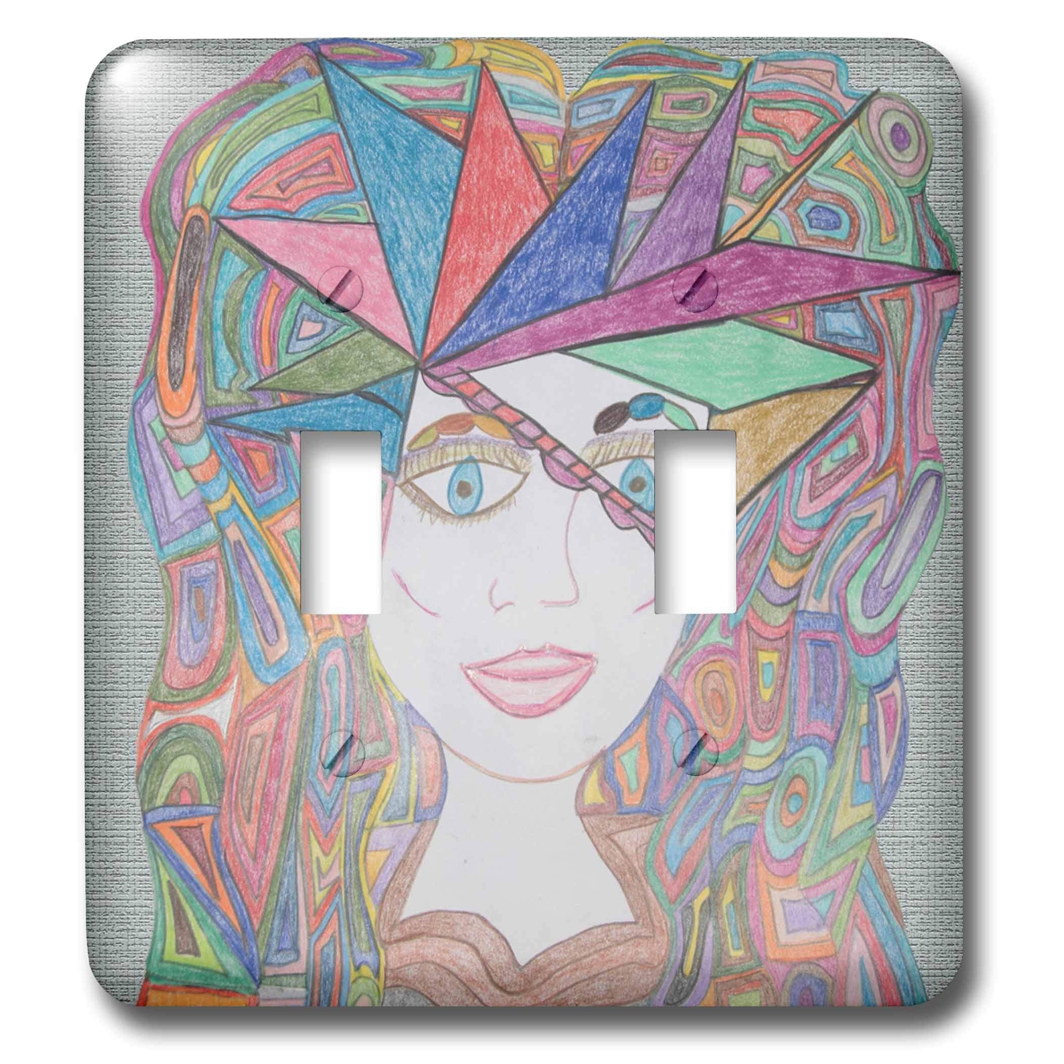 3dRose Jos Fauxtographee- Jos Faux Dolls Hat - A viser of sorts on a faux looking doll with colored locks - Light Switch Covers - double toggle switch (lsp_288896_2)