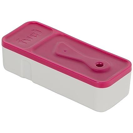 Trudeau Maison Fuel Fiambrera para tentempiés «Snack & Dip to go» con compartimento para salsas y cuchillo de untar, 206 ml, rosa