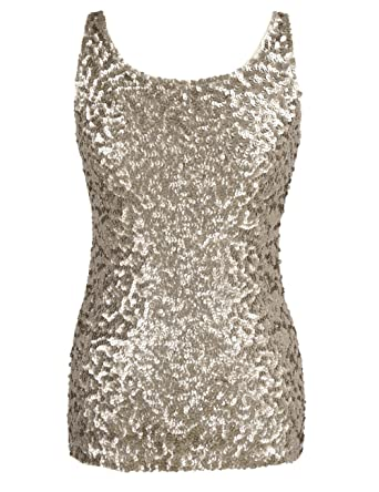 91584e528e1e PrettyGuide Women Shimmer Glam Sequin Embellished Sparkle Tank Top Vest Tops  L(UK M)