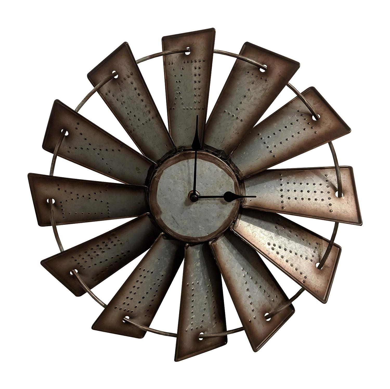 "Gianna's Home Rustic Farmhouse Metal Windmill Wall Clock (14.5"")"