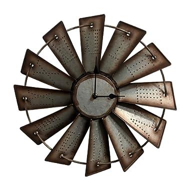 Gianna's Home Rustic Farmhouse Metal Windmill Wall Clock (14.5 )