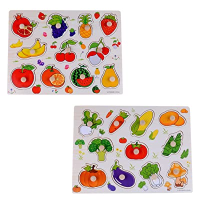 2 Set of 15 inches Wooden Pegged Puzzles, Learning Preschool Toys for Kids More Than 3 Years Old ( Fruits and Vegetables )