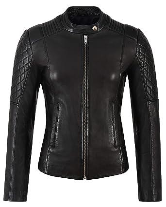 Chaqueta de Cuero para Mujer Black Quilted Biker Fashion ...