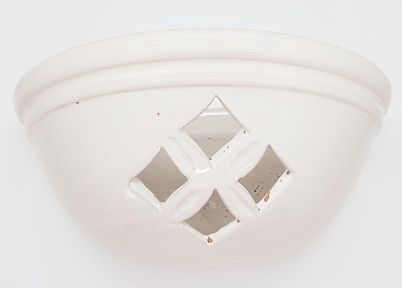 Plafoniera da Parete Traforata Ceramica Bianco Realizzato e Dipinto a mano Nina Palomba Made in Italy Dimensioni 30 x 15 cm