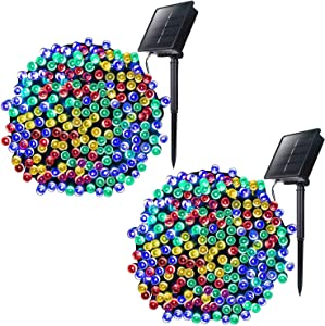 Outdoor Solar Christmas String Lights with 8 Lighting Modes, 72 Feet 200LED Waterproof Solar Powered Lights for Indoor Outside Xmas Patio Garden Yard Wedding Party Tent Tree Decor, Multicolor, 2 Pack