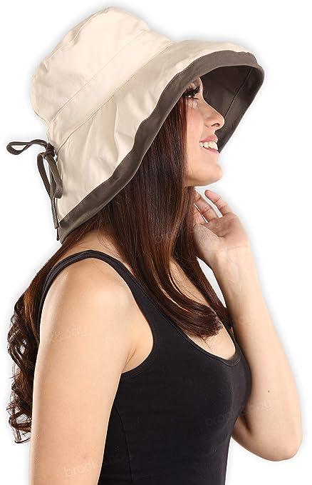 c7984b7b2e7 Amazon.com  UV Protection Packable Cotton Sun Hat with Adjustable  Drawstring - Stylish