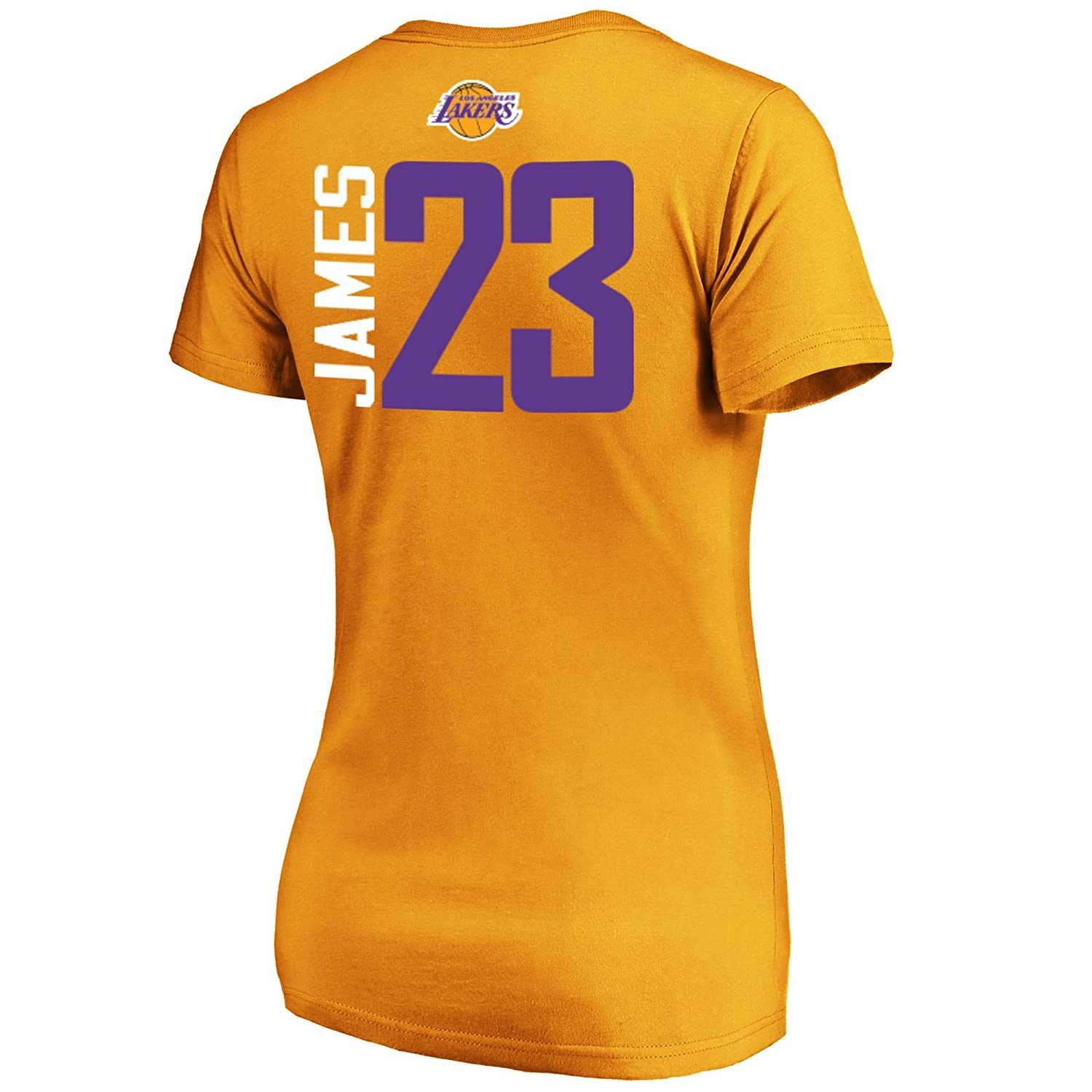 2ab597aa6f30 Amazon.com   Majestic Lebron James Los Angeles Lakers  23 Women s Vertical  Player T-Shirt Gold   Sports   Outdoors