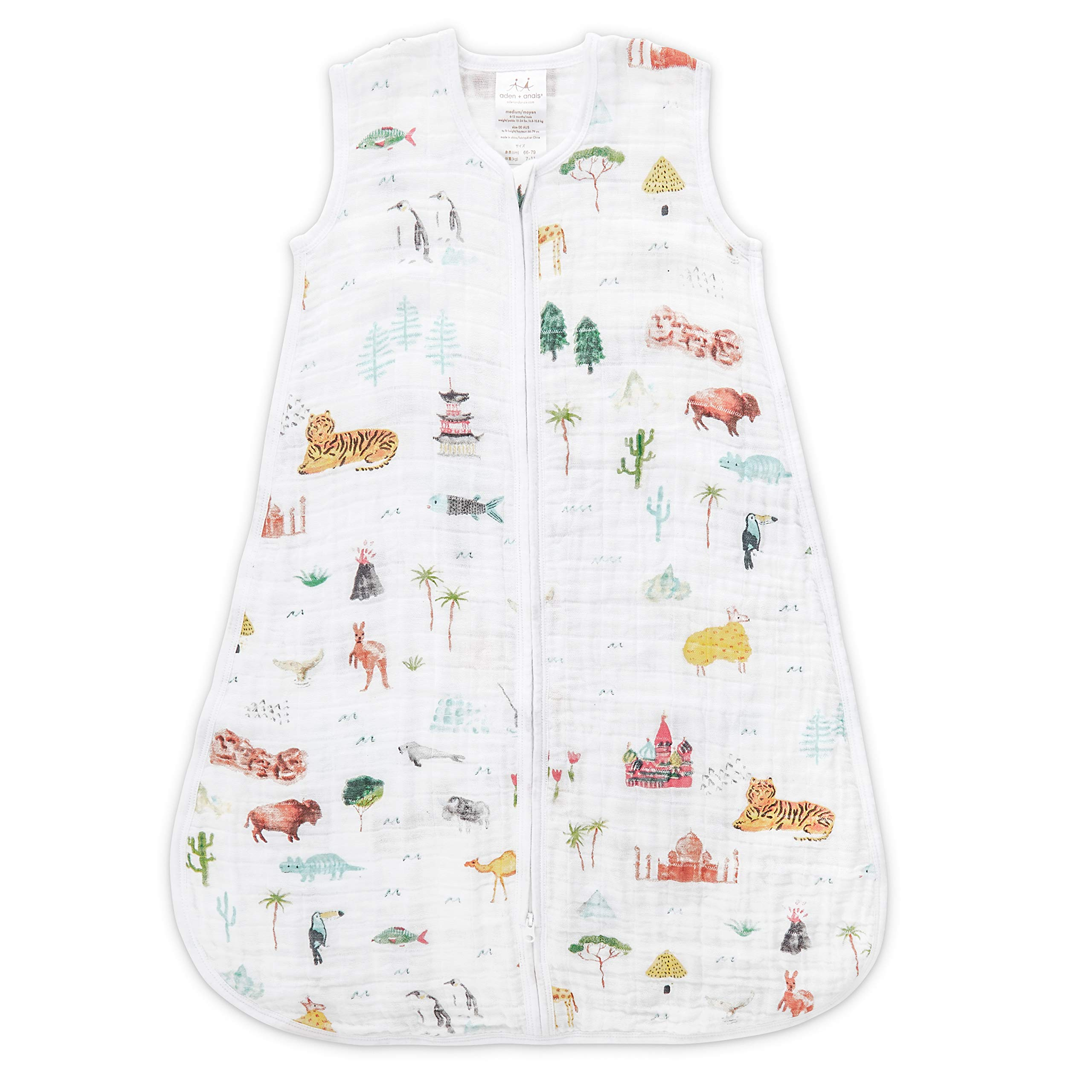 aden + anais Classic Sleeping Bag, 100% Cotton Muslin, Wearable Baby Blanket (X-Large, Around The World - Sites) by aden + anais