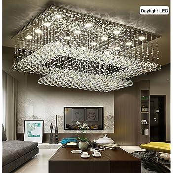 Siljoy Modern Contemporary Crystal Rectangular Chandelier For Living Room  Flush Mount Ceiling Lighting Fixture, H14