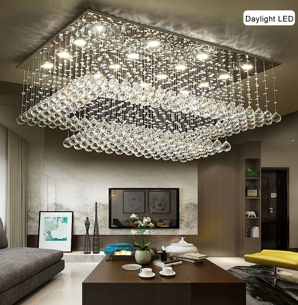 siljoy modern contemporary crystal rectangular chandelier for siljoy modern contemporary crystal rectangular chandelier for living room flush mount ceiling lighting fixture h14