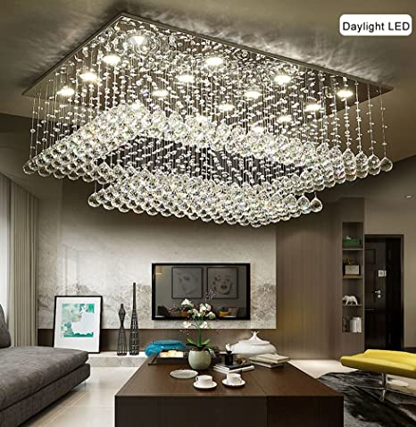 Siljoy Modern Contemporary Crystal Rectangular Chandelier for Living Room  Flush Mount Ceiling Lighting Fixture 78d305ba15b0