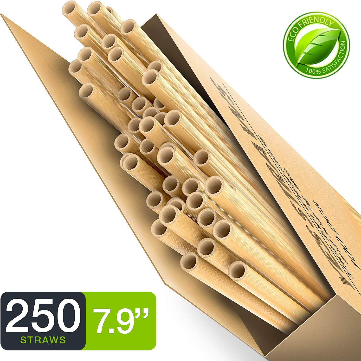 100% Biodegradable & Compostable Eco Friendly Long Wheat Straws - Pack of 250 - Natural and Disposable Drinking Straws - Better Alternative to Plastic, Paper, Stainless-Steel, Silicone & Glass Straws by YesStraws