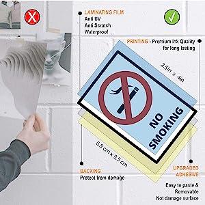 No Smoking - Smoking Area - No Food or Drink Vinyl Sticker Weatherproof Resistant | Window Security Stickers | Anti Damage Sun or Storm | Rectangular Warning Decal Sticker (9 Packs)