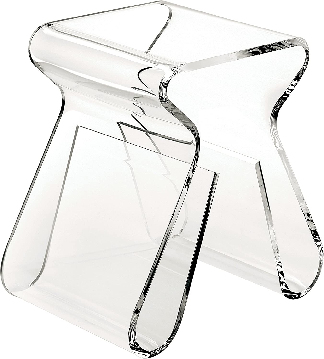 Umbra Magino, Acrylic Side Table, End Table, Stool with Storage, Modern Magazine Rack, Clear
