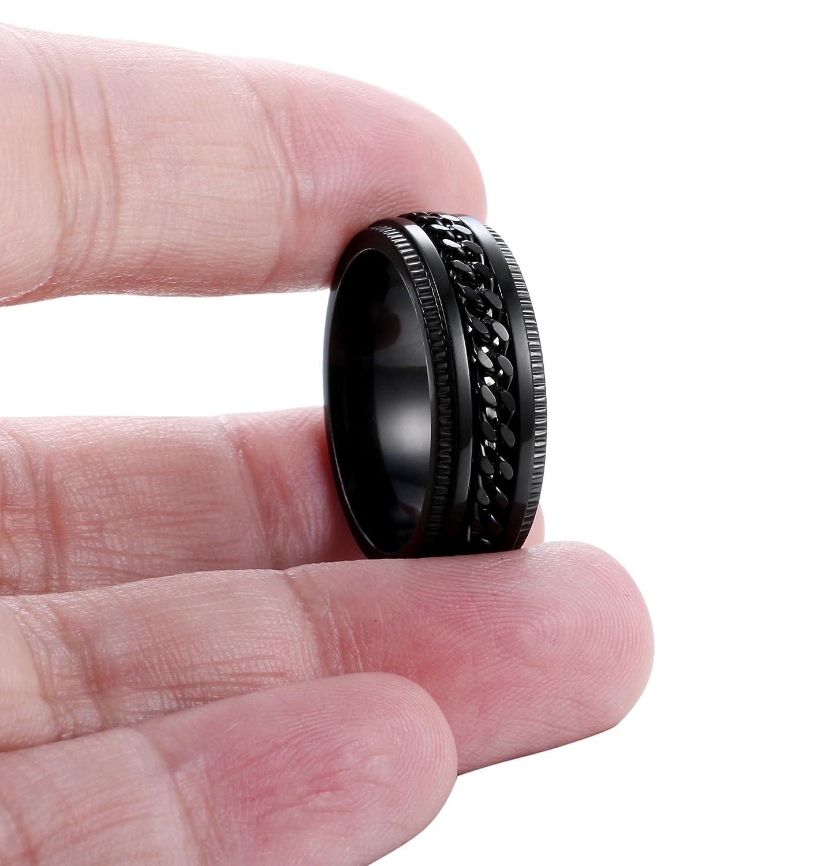 FIBO STEEL Stainless Steel 8mm Rings for Men Chain Rings Biker ...