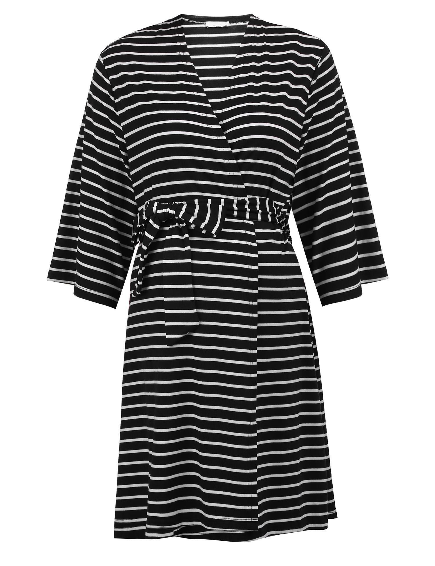 Skylin Maternity Nursing Nightgown Long Sleeve Breastfeeding Bath Robes (Black, XL)