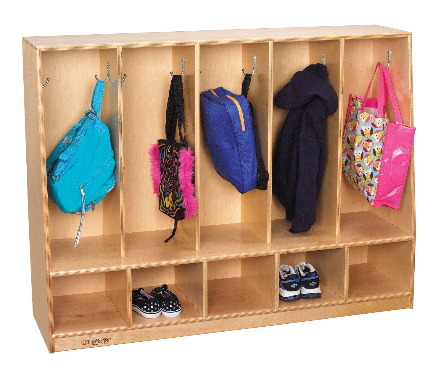 Childcraft Toddler Bench Coat Locker, 5 Sections, 53-3/4 x 13-3/4 x 36 Inches by Childcraft
