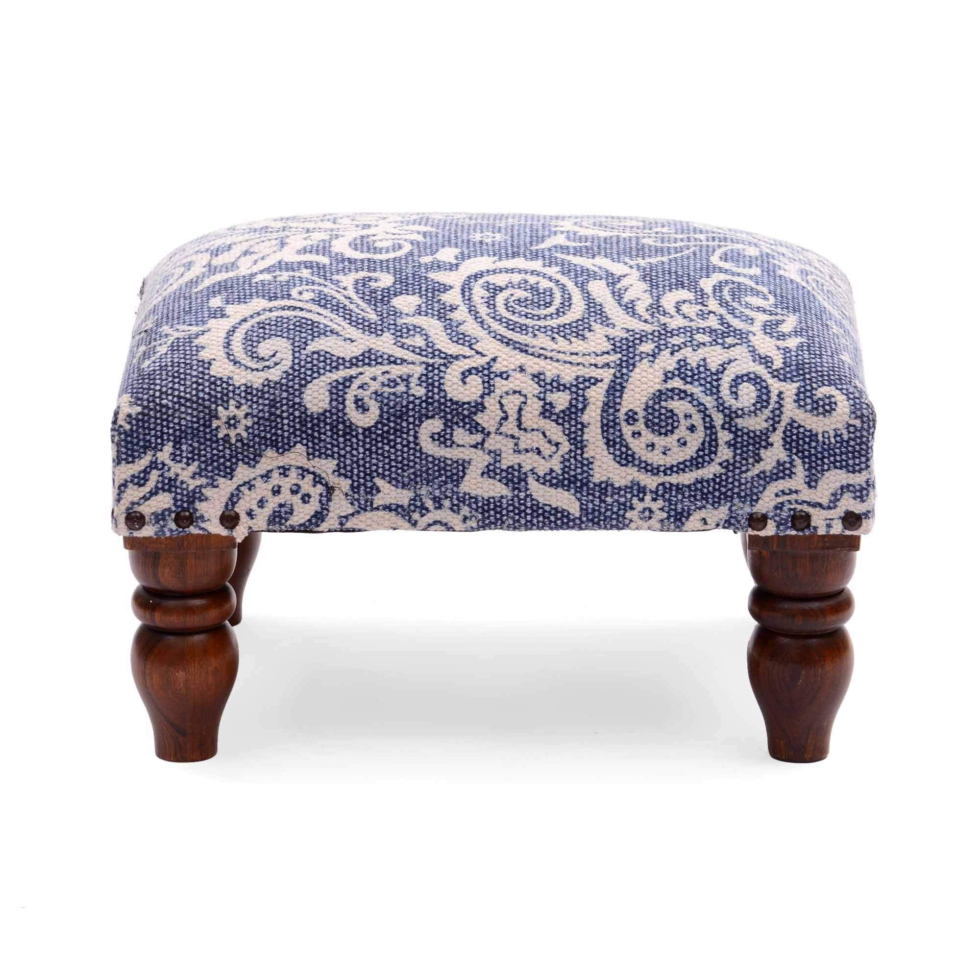 Natural Furnish Flat Seat Comfortable 100% Cotton Footstool Pouf by Natural Furnish