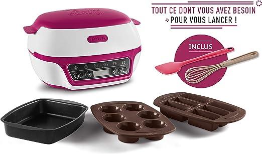 TEFAL - Robot para hornear y repostería, para muffins, con 3 moldes, batidor y espátula incluidos, 5 programas Blanc/Rouge Framboise: Amazon.es: Hogar