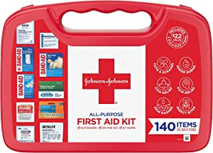 Johnson & Johnson All-Purpose Portable Compact First Aid Kit for Minor Cuts, Scrapes, Sprains & Burns, Ideal for Home, Car, Travel and Outdoor Emergencies, 140 pieces