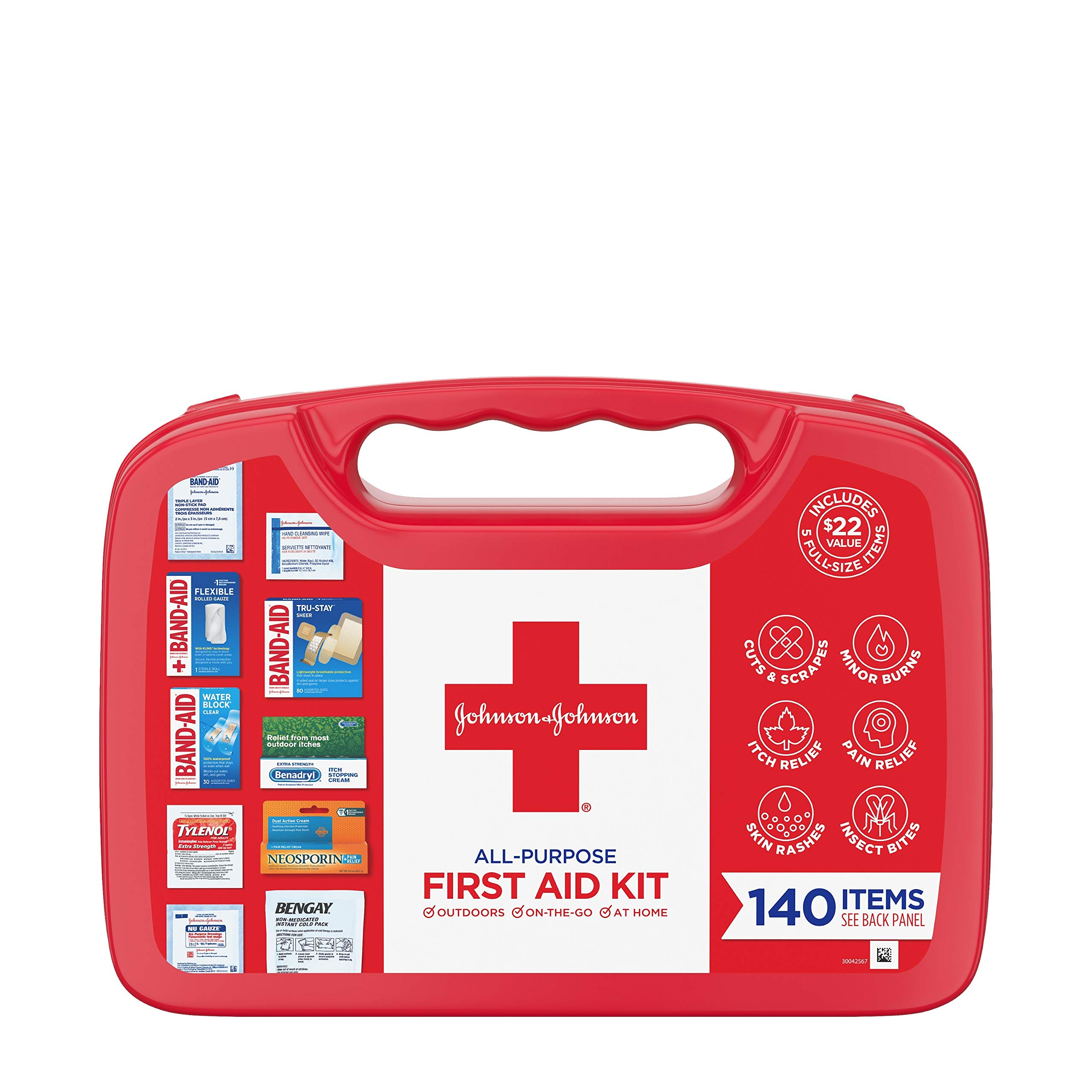Johnson & Johnson All-Purpose Portable Compact Emergency First Aid Kit for Travel Home & Car, 140 pc by Band-Aid