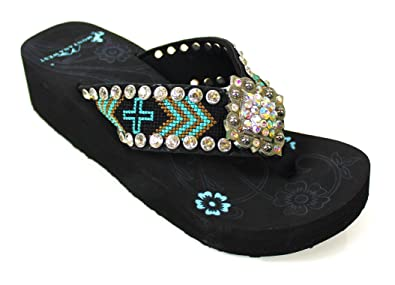 6a86b7a25 Image Unavailable. Image not available for. Color  Montana West Aztec  Diamond Concho Flip Flops Womens Wedge Heel Sandals Size 9