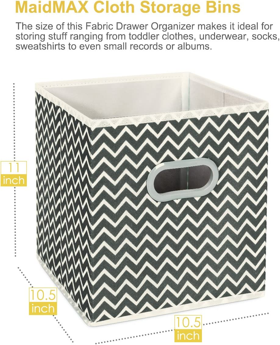 Set of 6 Gray Cube Organizer Bins MaidMAX Cloth Storage Bins 10.5/×10.5/×11 inches Foldable Storage Cubes Baskets with Dual Plastic Handles for Home Office Nursery Drawers Organizers
