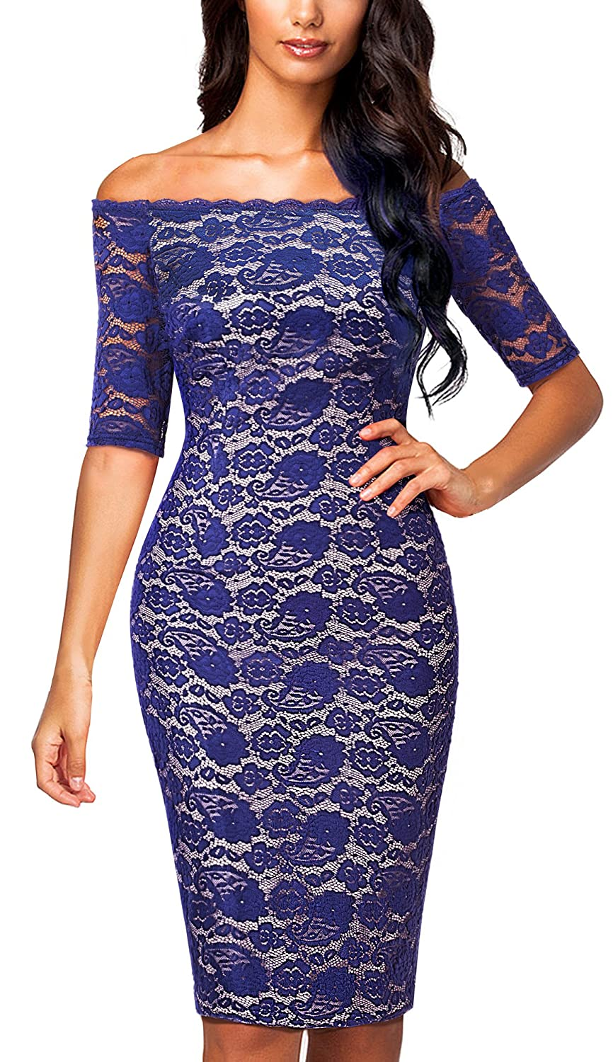 80%OFF HOMEYEE Elegante media manga de encaje bordado Bodycon ...
